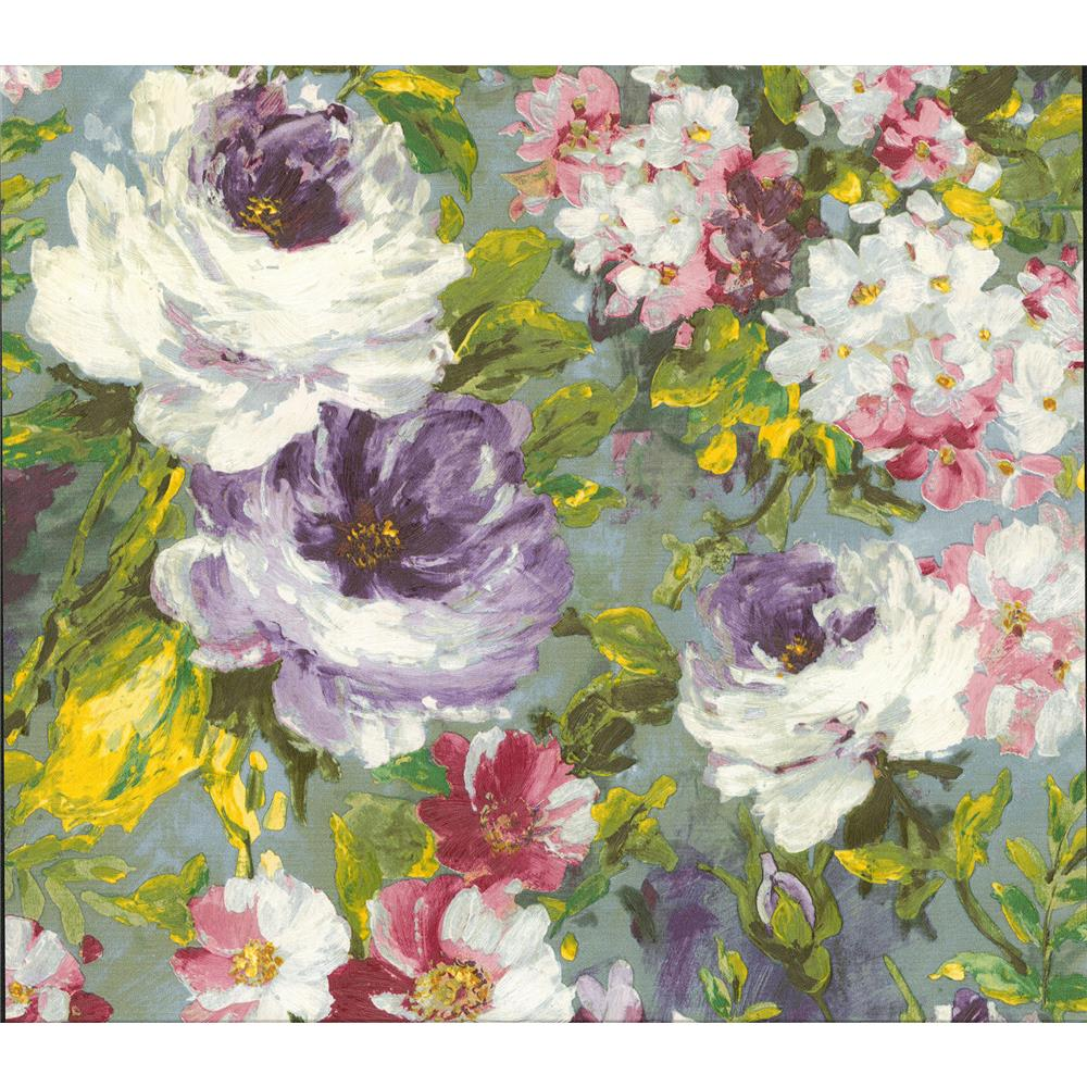 Advantage by Brewster 2835-SY5113P Deluxe Macau Multicolor Painterly Floral Wallpaper