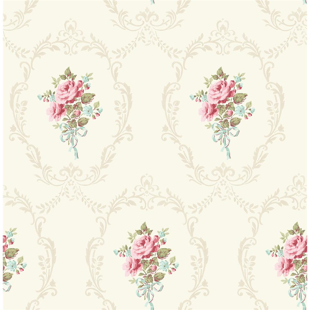 Fine Décor by Brewster 2900-23218 Camellia White Floral Cameo Wallpaper