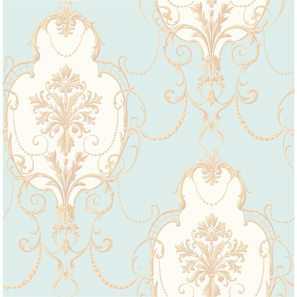 Fine Décor by Brewster 2900-23251 Lucinda Blue Cameo Wallpaper
