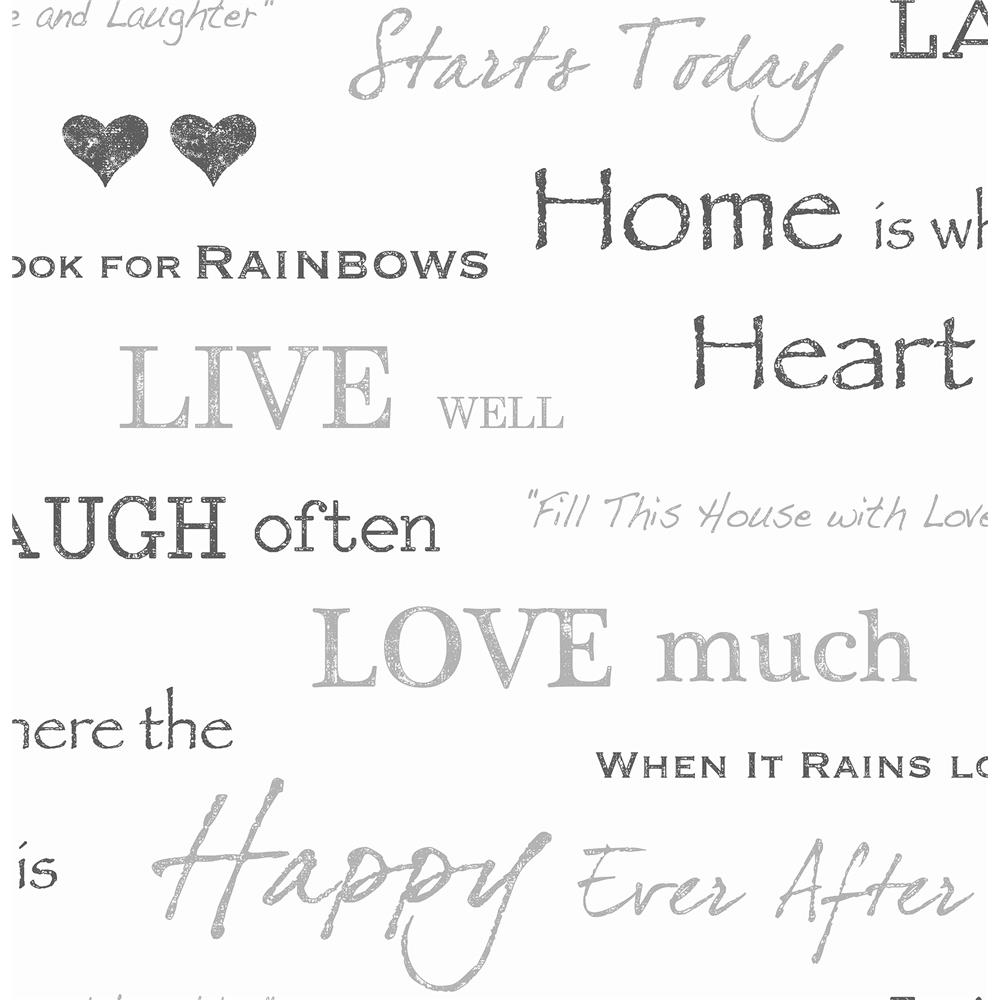 Fine Décor by Brewster 2900-40427 Happy Home Grey Text Wallpaper