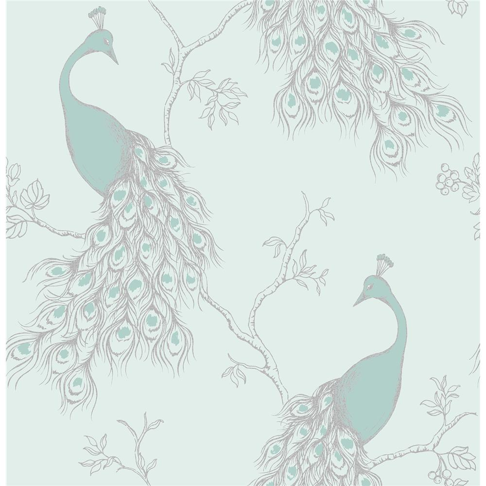 Fine Décor by Brewster 2900-40713 Phasia Seafoam Peacock Wallpaper