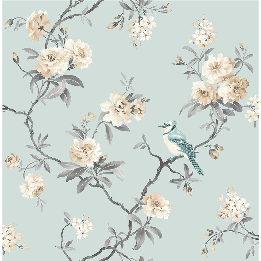 Fine Décor by Brewster 2900-40765 Chinoiserie Blue Floral Wallpaper