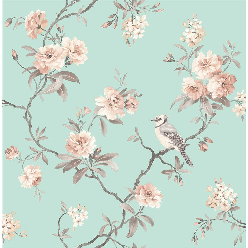 Fine Décor by Brewster 2900-40768 Chinoiserie Seafoam Floral Wallpaper