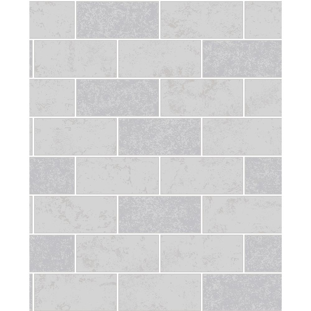 Fine Décor by Brewster 2900-41461 Ceramica Grey Subway Tile Wallpaper