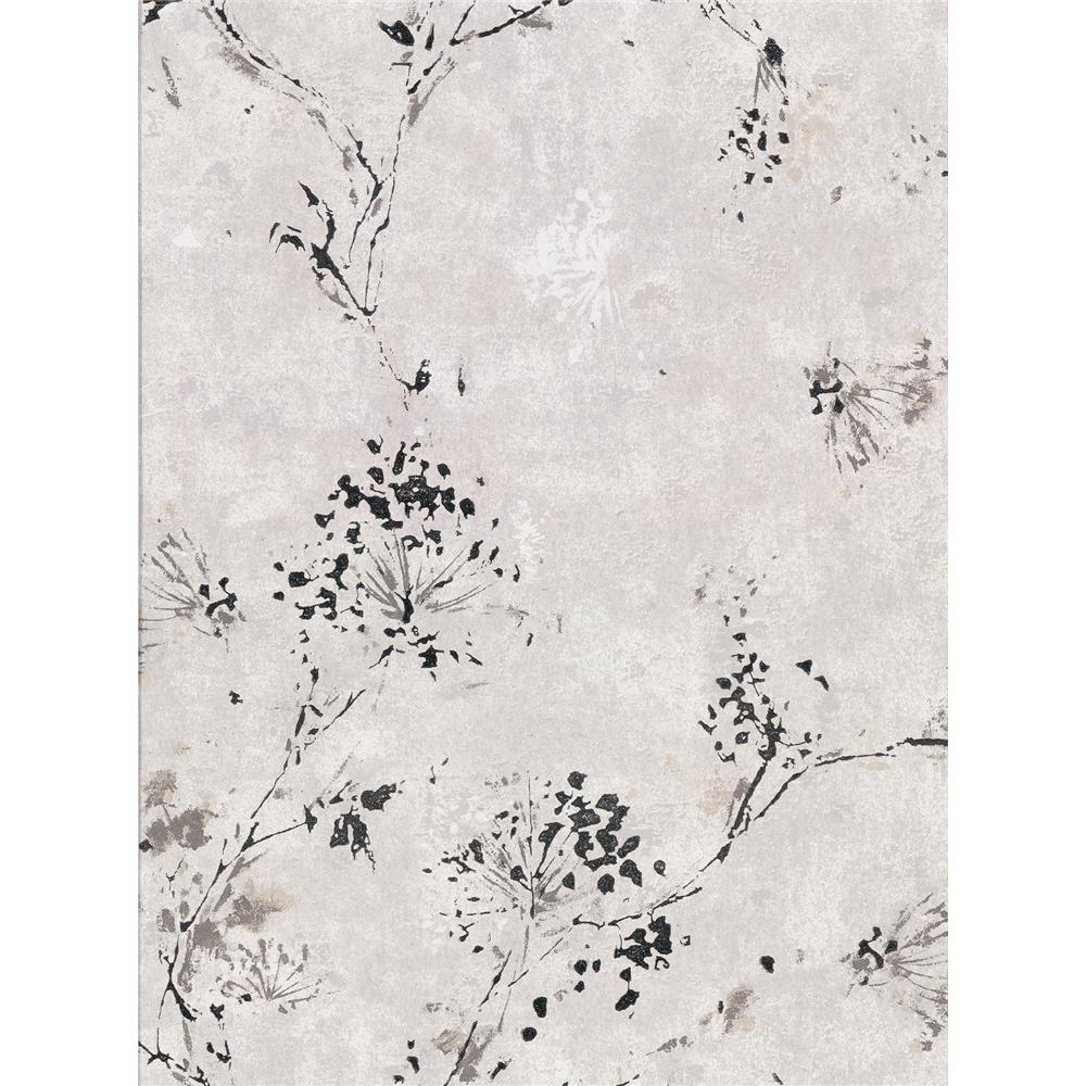Brewster 2904-00303 Misty Grey Distressed Dandelion Wallpaper