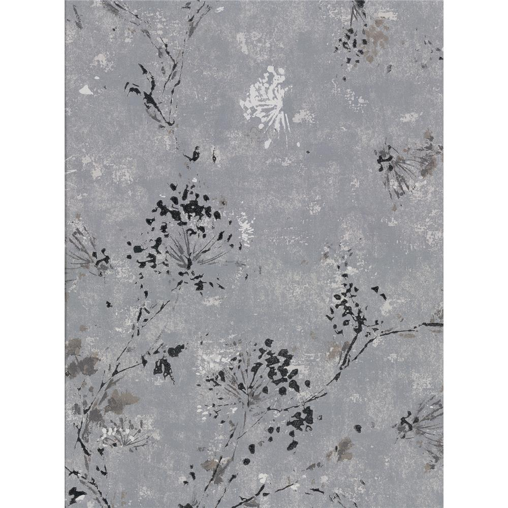 Brewster 2904-00306 Misty Charcoal Distressed Dandelion Wallpaper