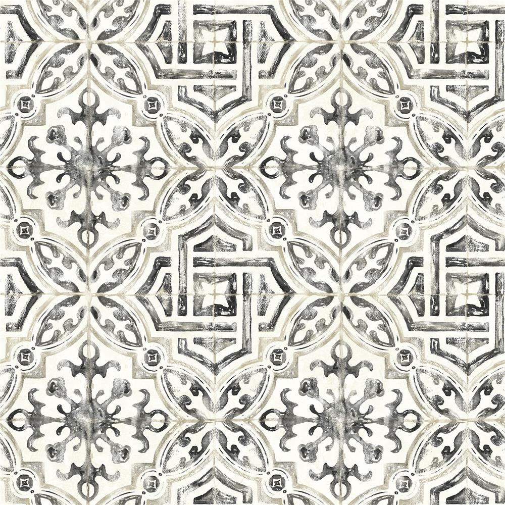 Brewster 2904-12331 Sonoma Charcoal Spanish Tile Wallpaper