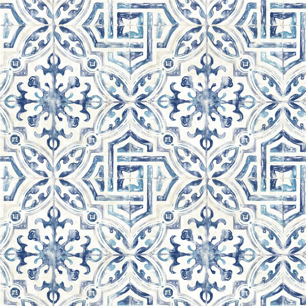 Brewster 2904-12332 Sonoma Navy Spanish Tile Wallpaper
