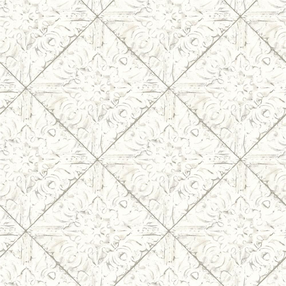 Brewster 2904-13091 Brandi White Tin Tile Wallpaper