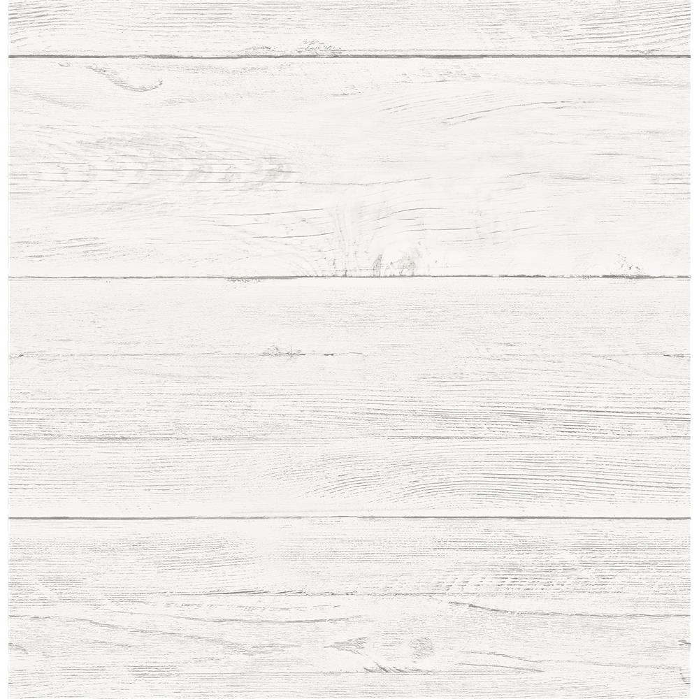 Brewster 2904-22307 Adair White Shiplap Wallpaper