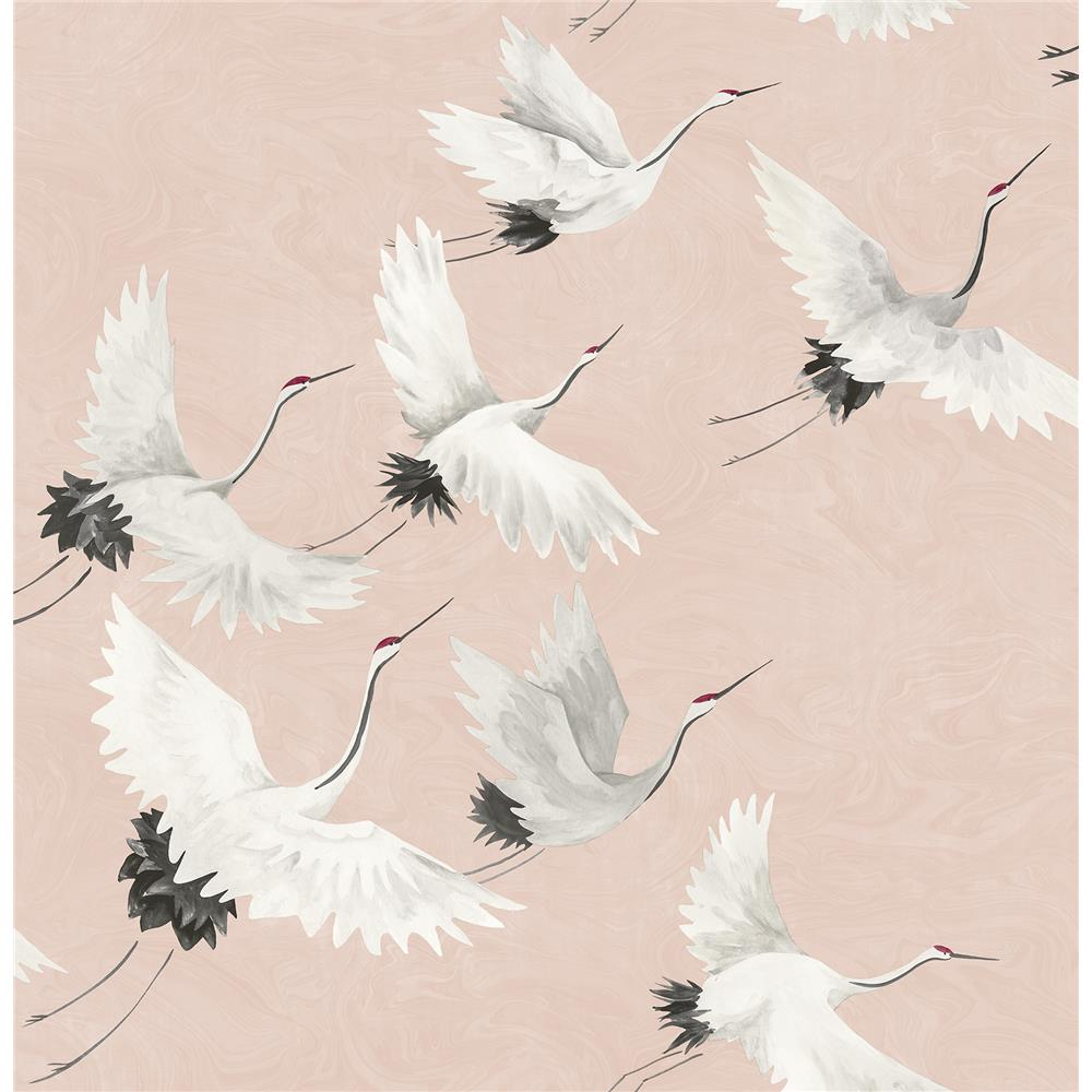 Brewster 2904-24305 Windsong Pink Bird Wallpaper