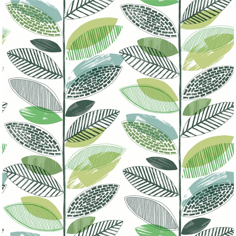 Brewster 2904-25681 Nyssa Green Leaves Wallpaper