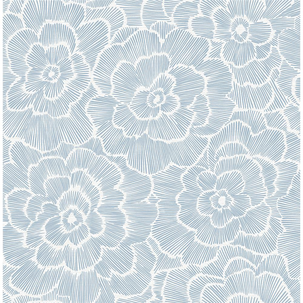 A-Street Prints by Brewster 2969-26039 Periwinkle Blue Textured Floral Wallpaper
