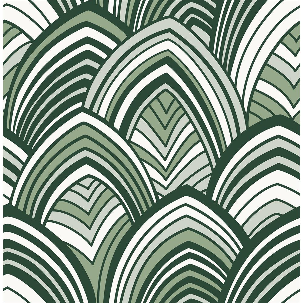 A-Street Prints by Brewster 2969-87354 CABARITA Green Art Deco Leaves Wallpaper
