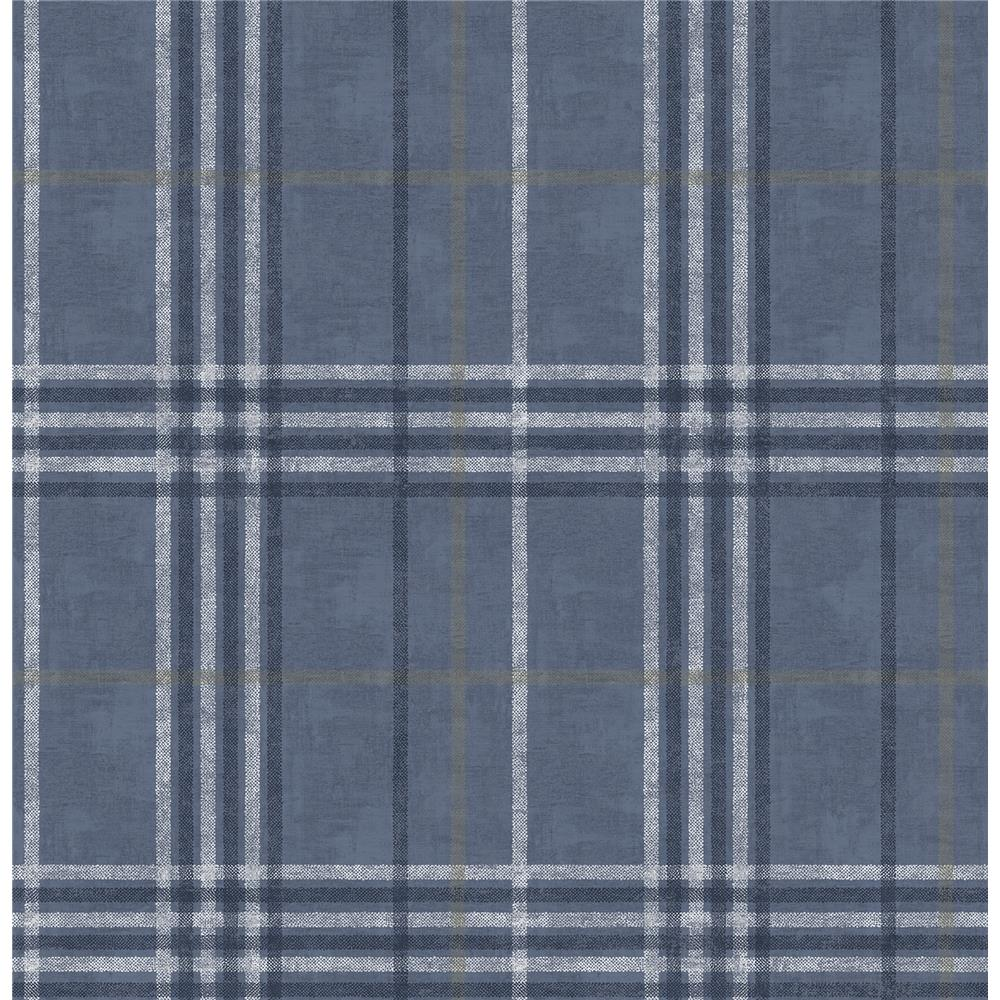 Chesapeake by Brewster 3114-003311 Rockefeller Navy Plaid Wallpaper