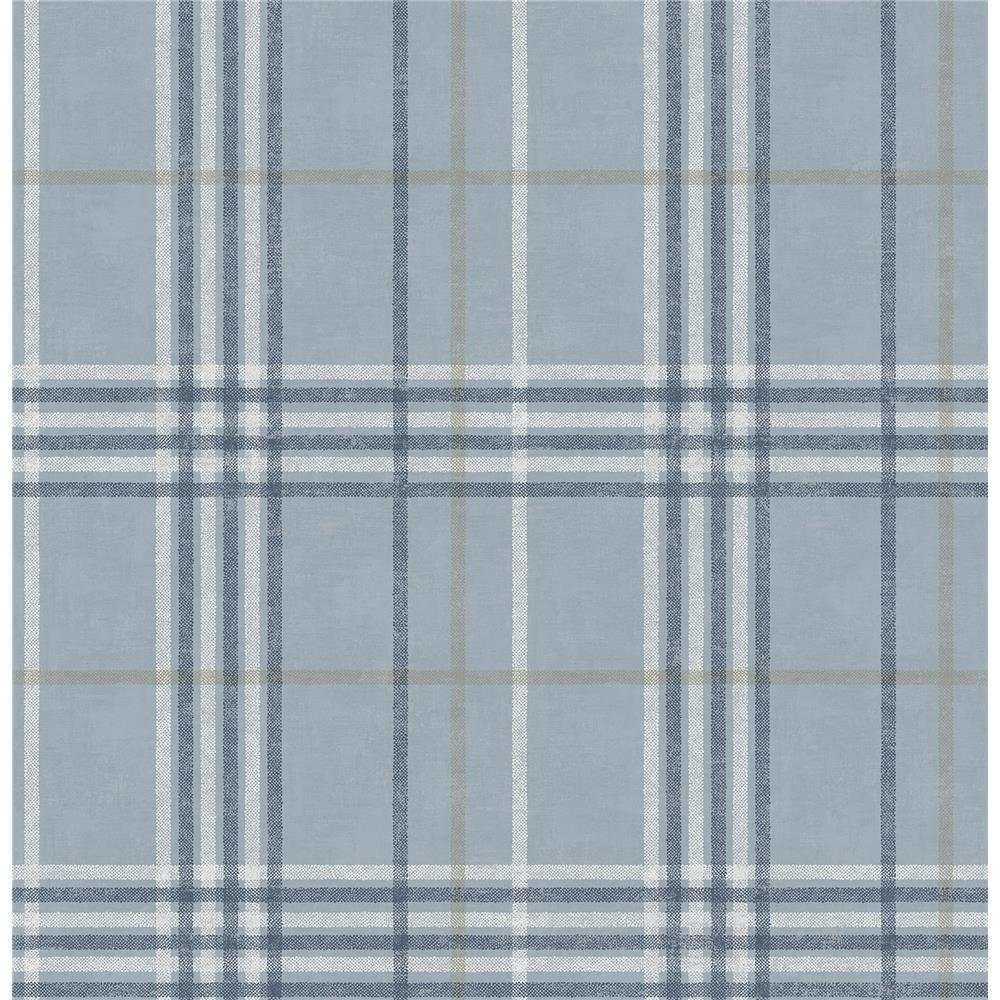 Chesapeake by Brewster 3114-003315 Rockefeller Light Blue Plaid Wallpaper