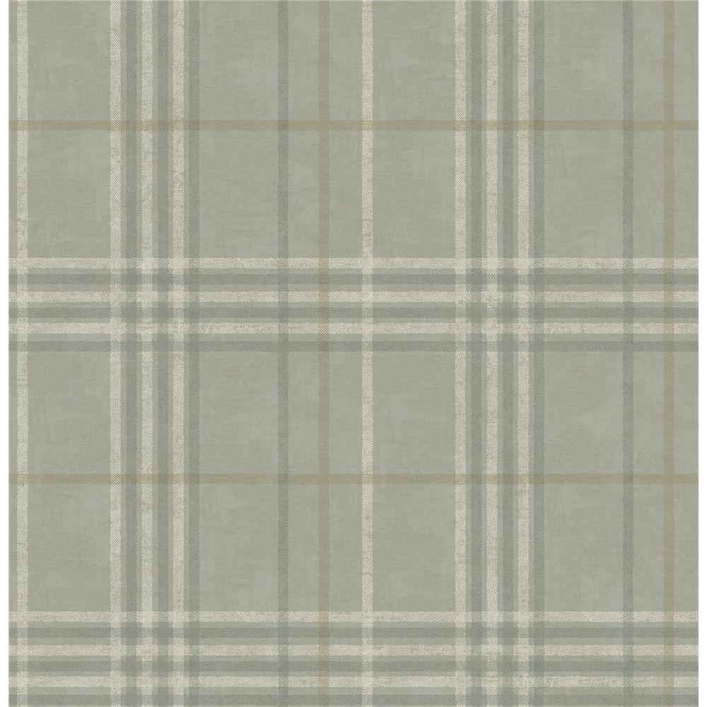Chesapeake by Brewster 3114-003316 Rockefeller Sage Plaid Wallpaper