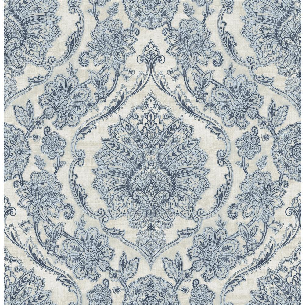Chesapeake by Brewster 3114-003319 Carnegie Blue Damask Wallpaper