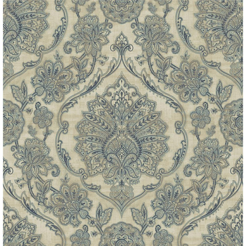 Chesapeake by Brewster 3114-003322 Carnegie Beige Damask Wallpaper