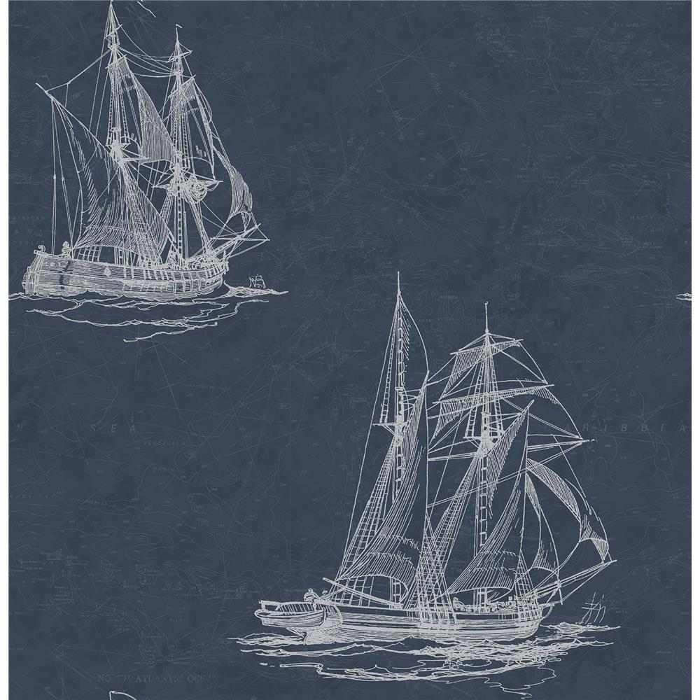 Chesapeake by Brewster 3114-003338 Hudson Bay Navy Nautical Wallpaper