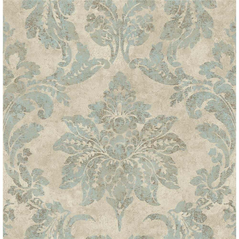 Chesapeake by Brewster 3114-003347 Astor Turquoise Damask Wallpaper