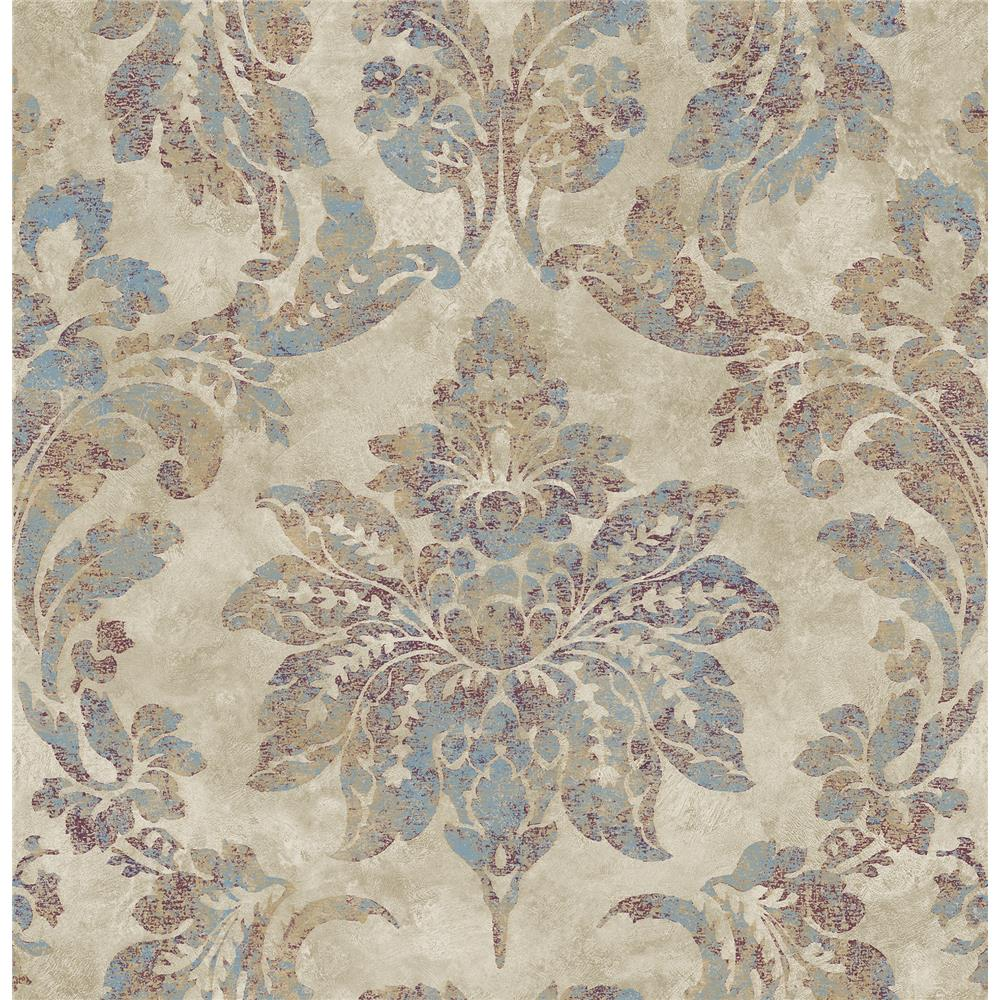 Chesapeake by Brewster 3114-003351 Astor Burgundy Damask Wallpaper