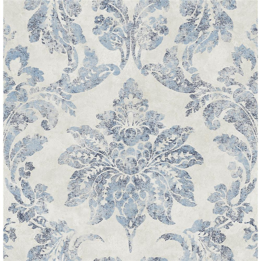 Chesapeake by Brewster 3114-003352 Astor Blue Damask Wallpaper