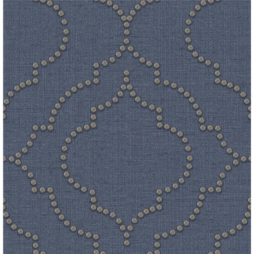 Chesapeake by Brewster 3114-003355 Chelsea Blue Quatrefoil Wallpaper