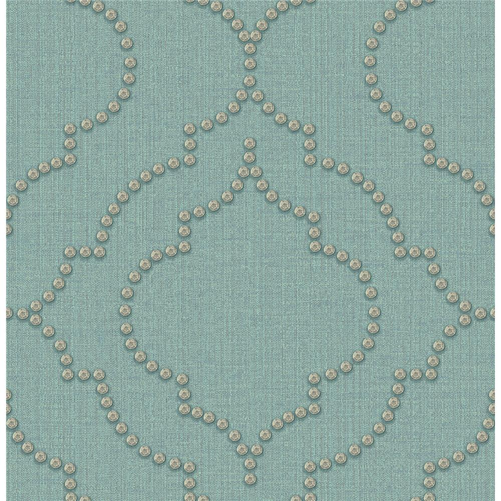 Chesapeake by Brewster 3114-003357 Chelsea Turquoise Quatrefoil Wallpaper