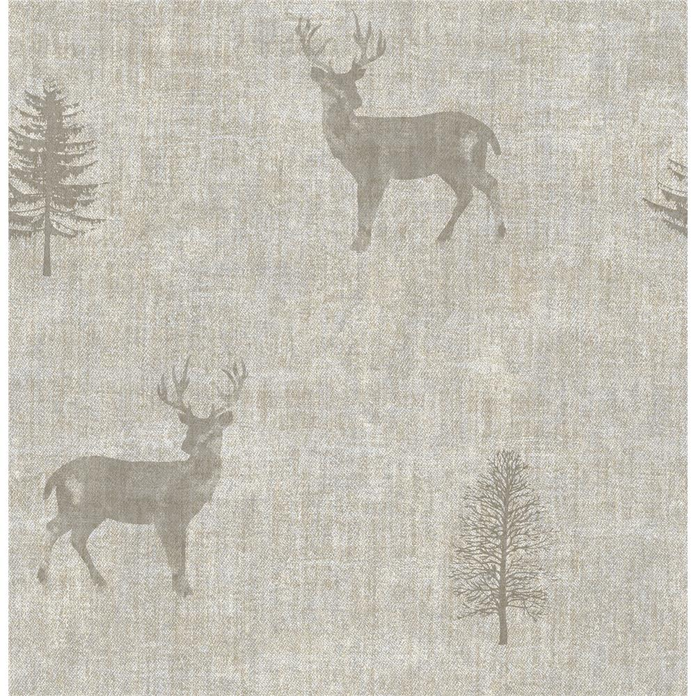 Chesapeake by Brewster 3114-003373 Sugar Hill Taupe Lodge Wallpaper