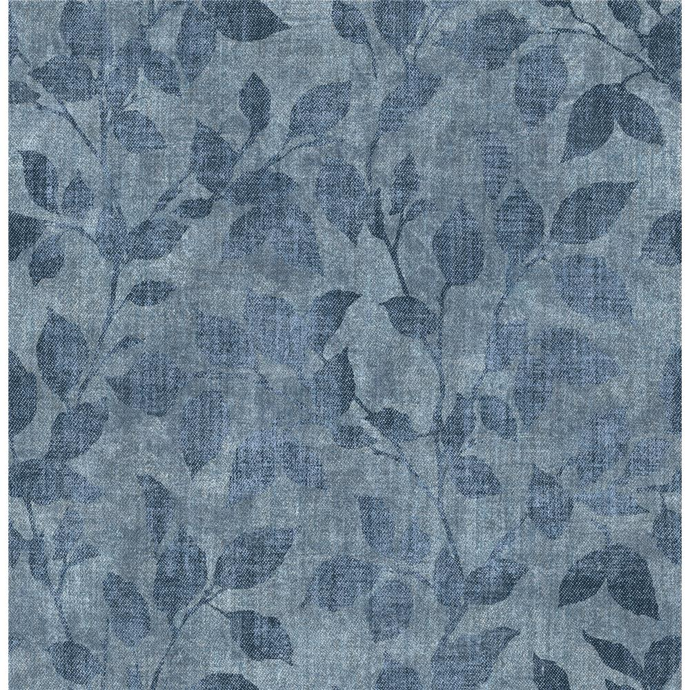 Chesapeake by Brewster 3114-003381 Gramercy Park Blue Leaf Wallpaper