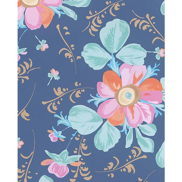 Eijffinger by Brewster 359044 Lyse Blue Painted Flowers Wallpaper