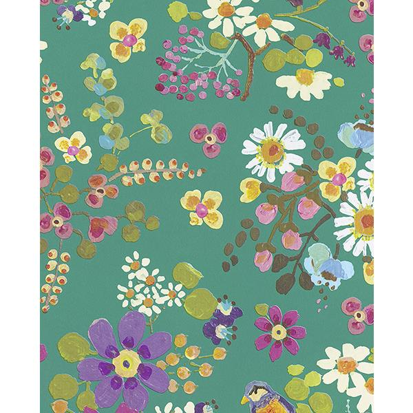 Eijffinger by Brewster 359073 Freja Turquoise Painted Florals Wallpaper