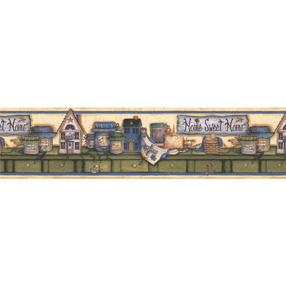 Brewster 414B06755 Kitchen; Bed and Bath Resource IV Kansas Blue Country Border Wallpaper in Blue