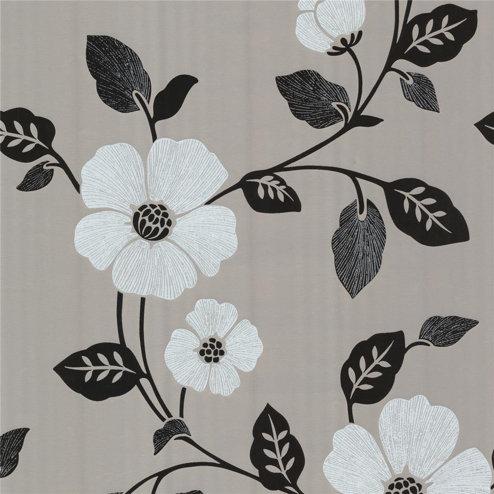 Beacon House by Brewster 450-67323 Zinc Zync Silver Modern Floral Wallpaper in Silver