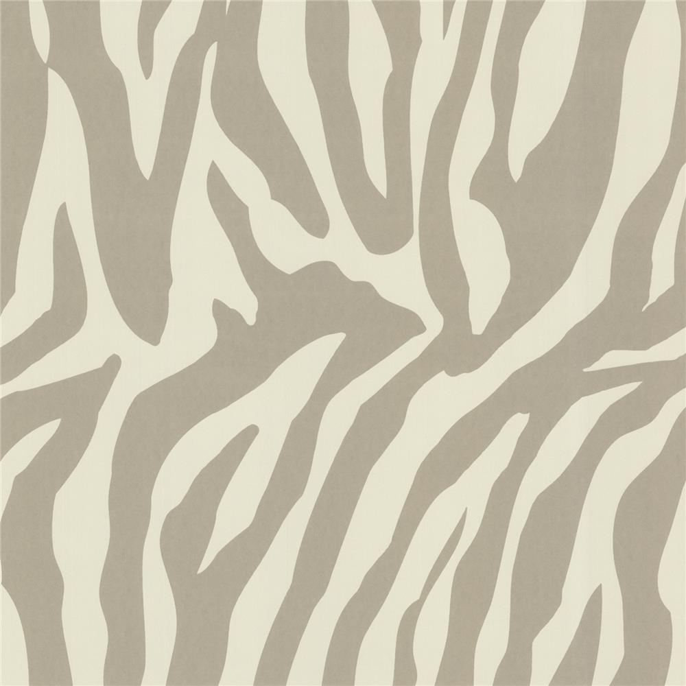 Beacon House by Brewster 450-67326 Zinc Zebbie Taupe Zebra Print Wallpaper in Taupe