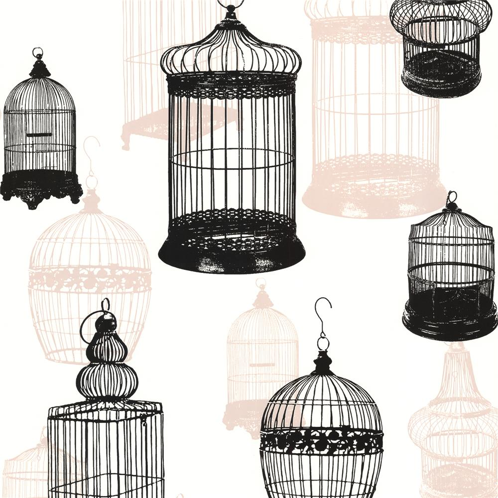 Beacon House by Brewster 450-67330 Zinc Avian Black Bird Cages Wallpaper in Black
