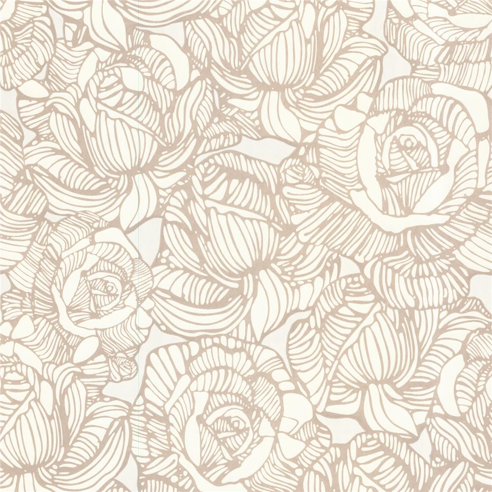 Beacon House by Brewster 450-67344 Zinc Calista Beige Modern Rose Wallpaper in Beige