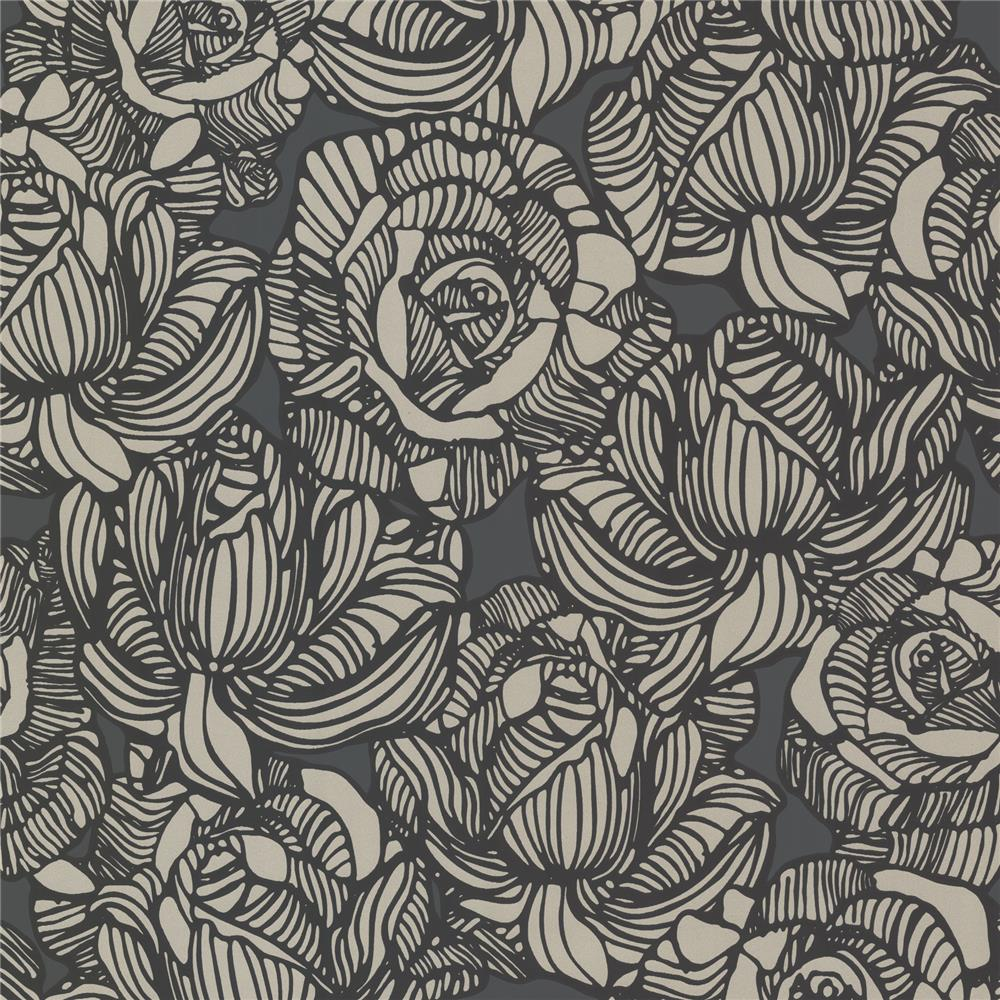 Beacon House by Brewster 450-67346 Zinc Calista Black Modern Rose Wallpaper in Black