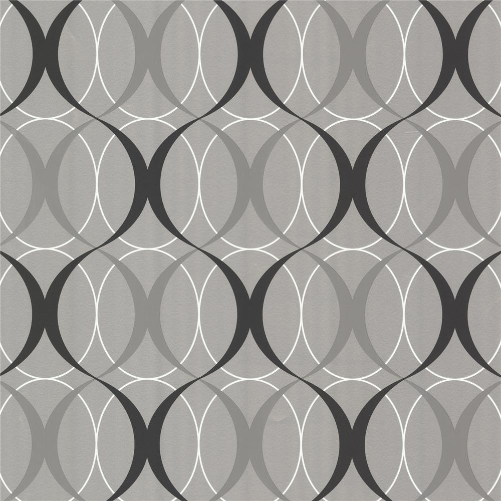 Beacon House by Brewster 450-67349 Zinc Circulate Silver Retro Orb Wallpaper in Silver