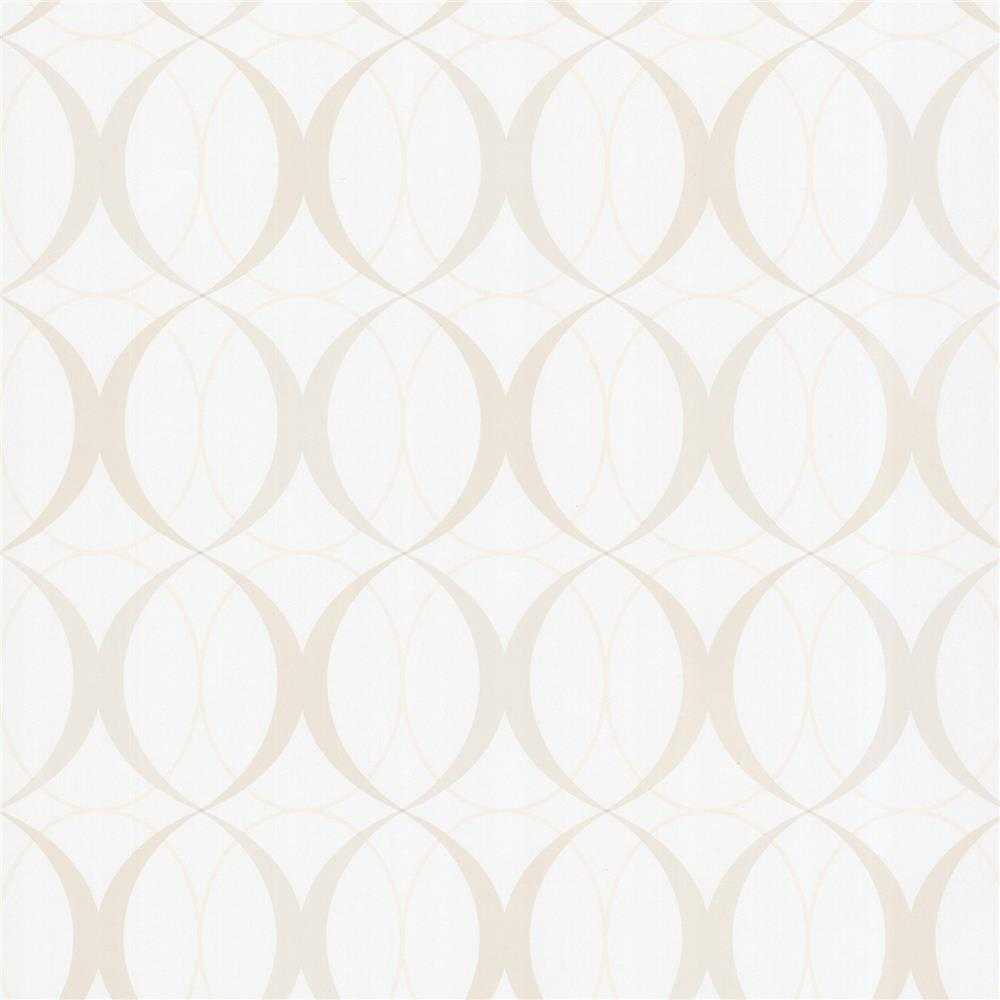 Beacon House by Brewster 450-67350 Zinc Circulate Pearl Retro Orb Wallpaper in Pearl