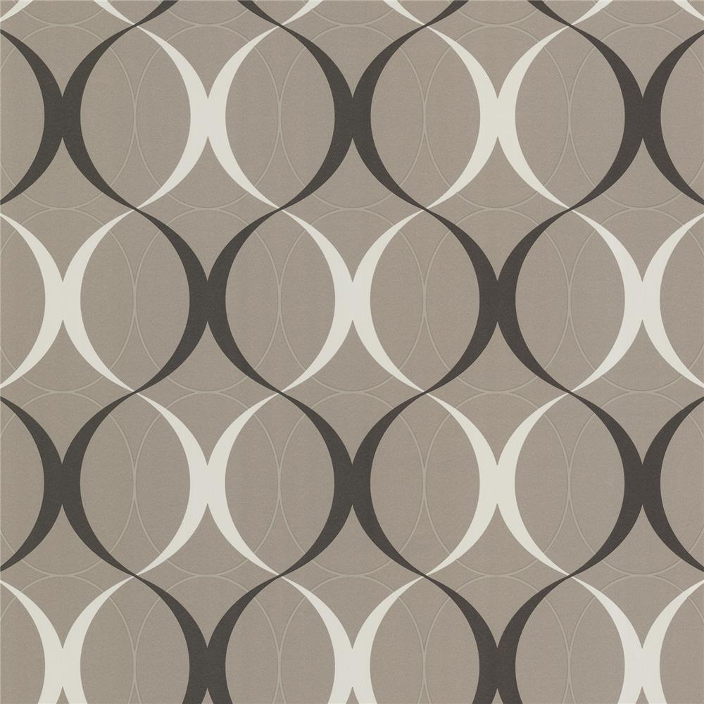 Beacon House by Brewster 450-67351 Zinc Circulate Sepia Retro Orb Wallpaper in Sepia