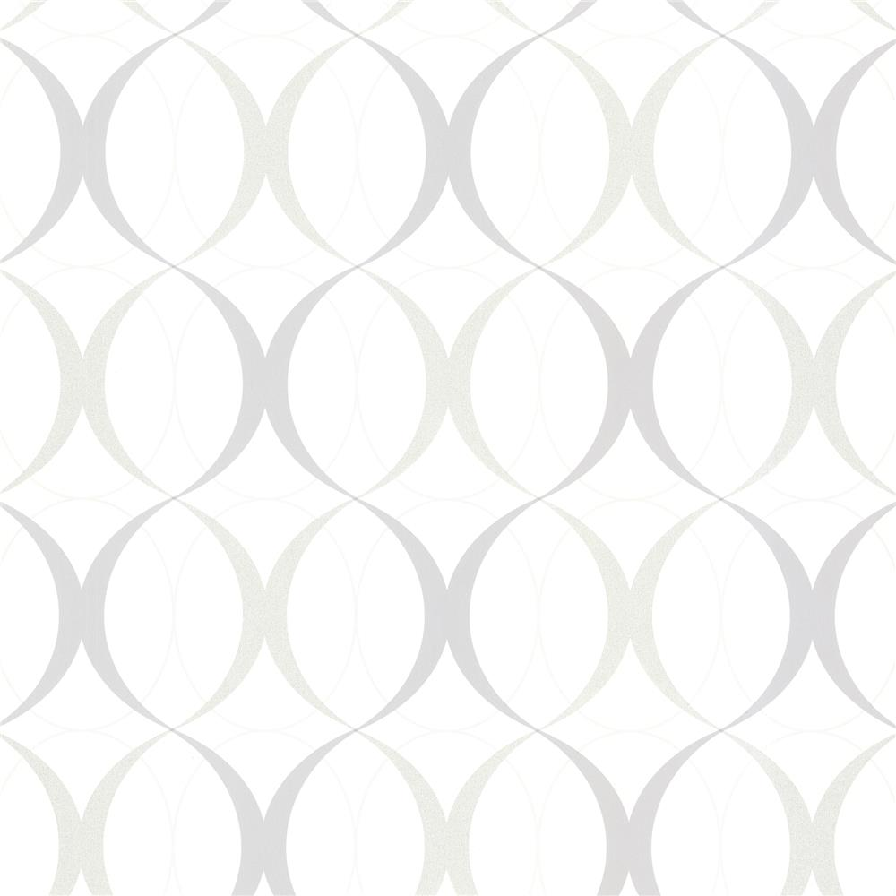Beacon House by Brewster 450-67352 Zinc Circulate White Retro Orb Wallpaper in White