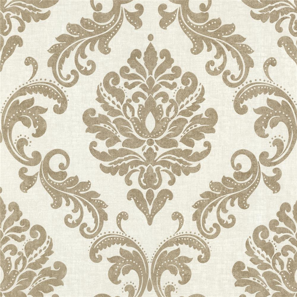 Beacon House by Brewster 450-67359 Zinc Sebastion Gold Damask Wallpaper in Gold