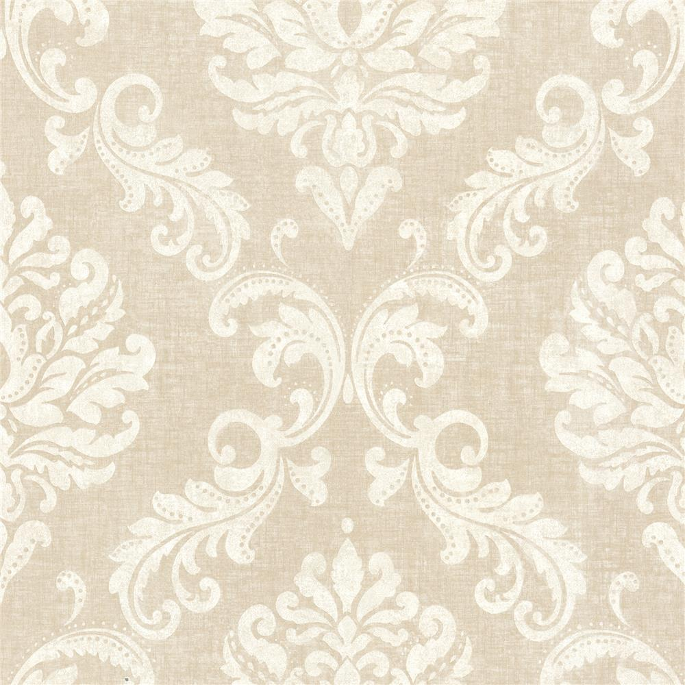 Beacon House by Brewster 450-67360 Zinc Sebastion Beige Damask Wallpaper in Beige