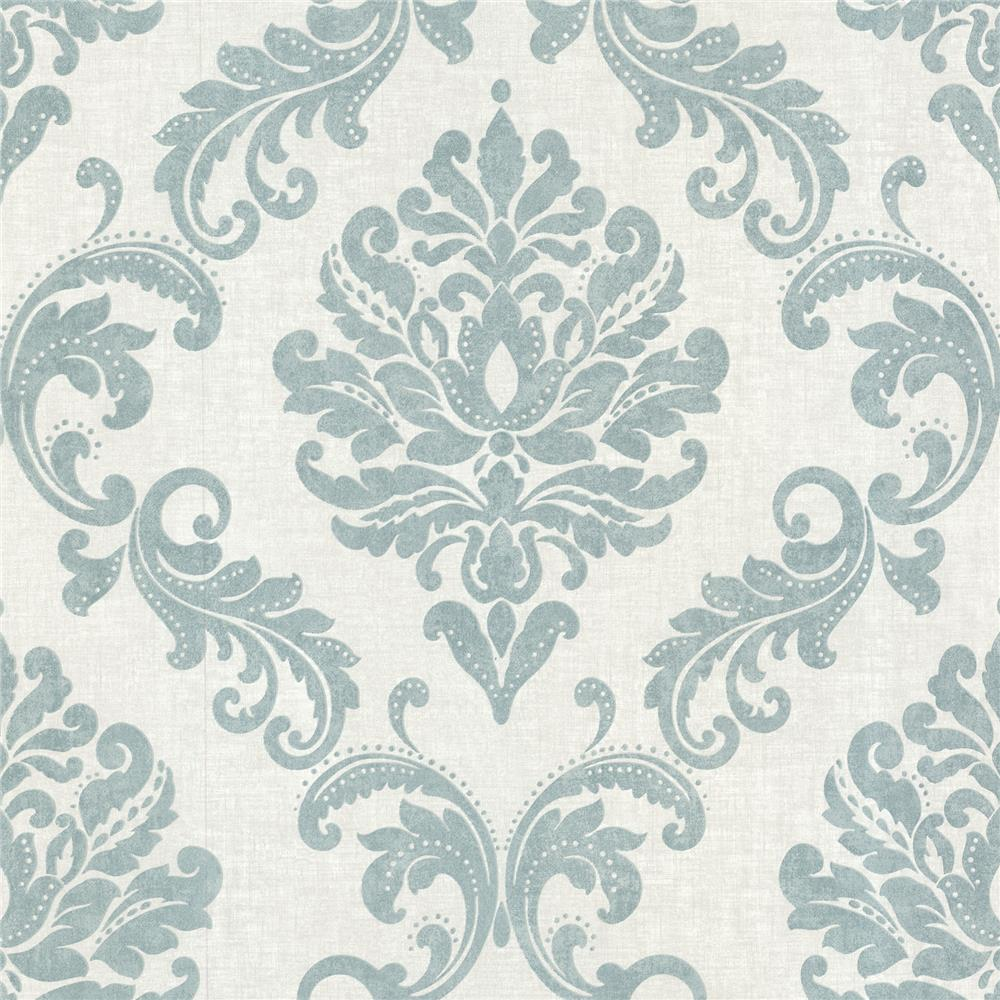 Beacon House by Brewster 450-67361 Zinc Sebastion Aqua Damask Wallpaper in Aqua