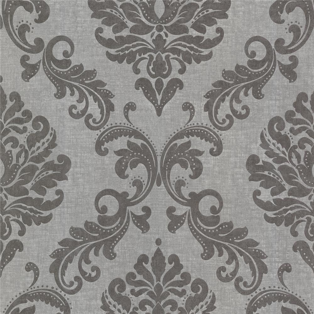 Beacon House by Brewster 450-67362 Zinc Sebastion Gray Damask Wallpaper in Gray