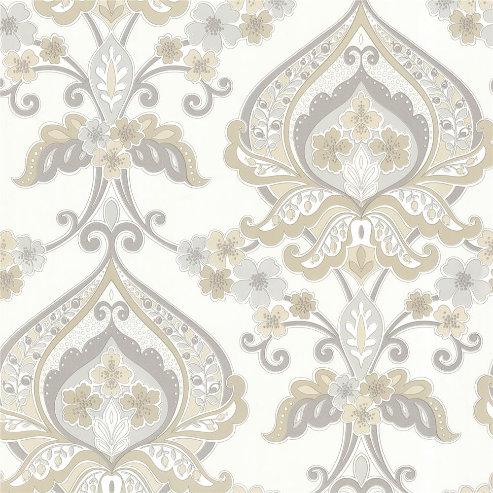Beacon House by Brewster 450-67366 Zinc Ashbury Taupe Paisley Damask Wallpaper in Taupe