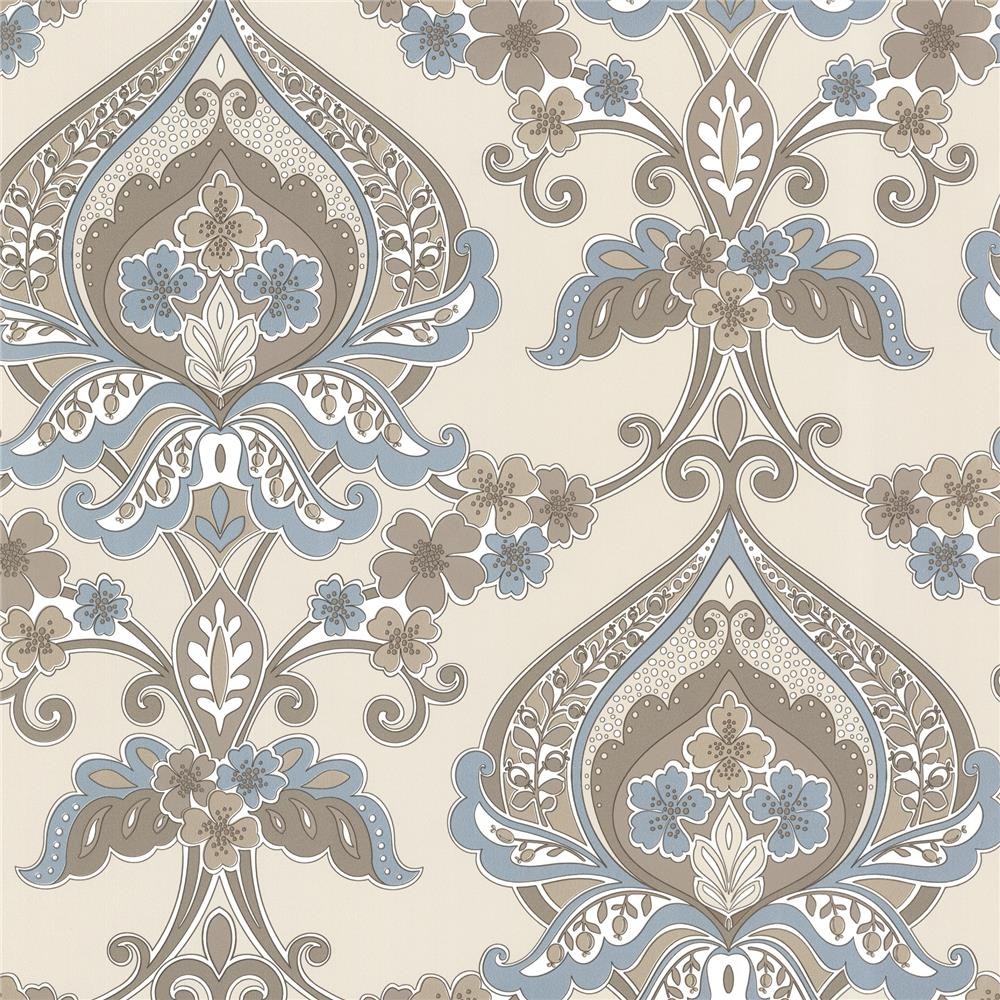Beacon House by Brewster 450-67368 Zinc Ashbury Aqua Paisley Damask Wallpaper in Aqua