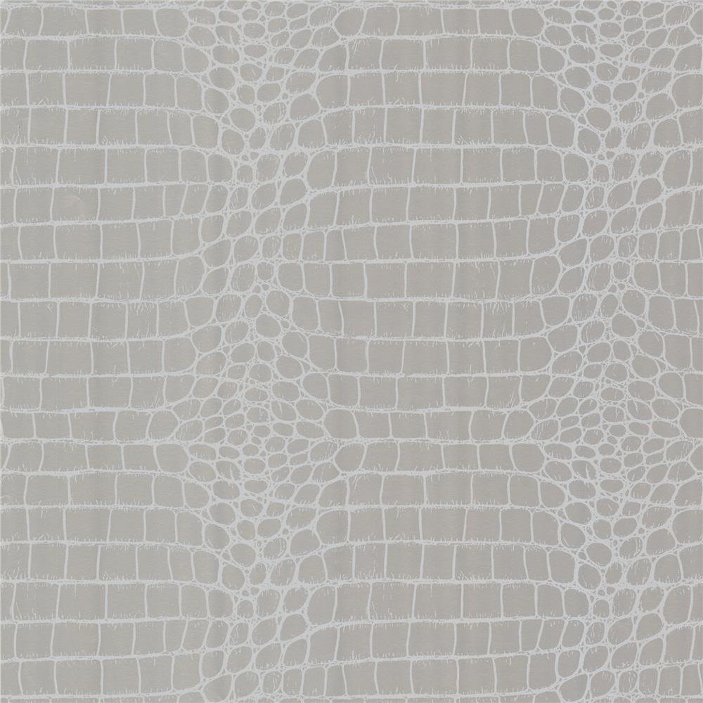 Beacon House by Brewster 450-67379 Zinc Croc Silver Crocodile Wallpaper in Silver